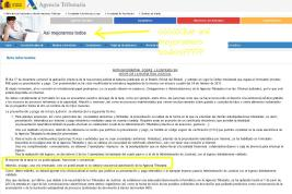 """Web oficial de la Agencia Estatal de Administratición Tributaria. """"Nota informativa"""" sobre las tasas judiciales."""