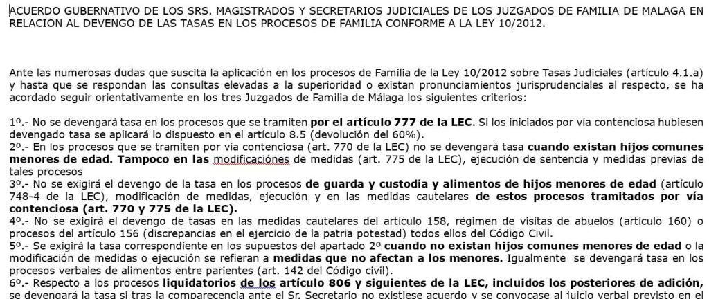 pantallazo de un acuerdo de tasas judicialesde JJ y SSJJ