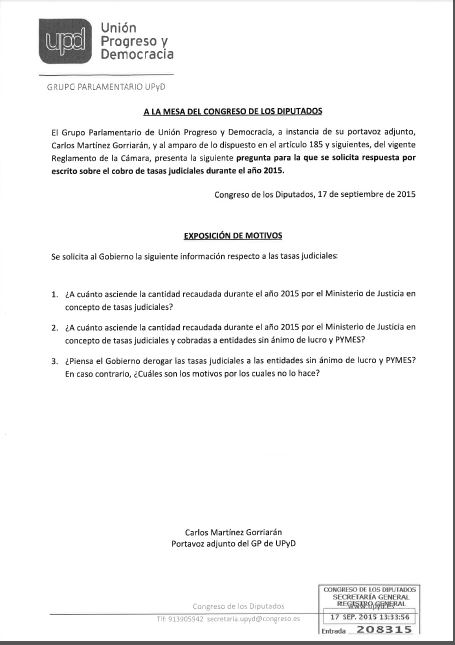 pregunta parlamentaria tasas UPyD 17-9-2015