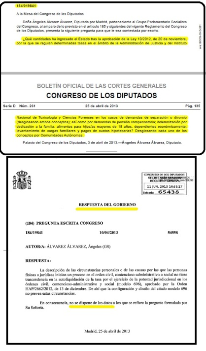 pregunta PSOE tasas judiciales en Familia y respuesta