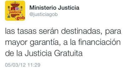 Tuit Ministerio Justicia tasas irán a JG