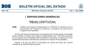 BOE 15-junio-2016 TC providencia admisión conflicto competencias Gobierno en funciones-Congreso