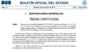 providencia admisión TC 23 marzo 2013 recurso PSOE 1º contra ley 2012 nº973-2013