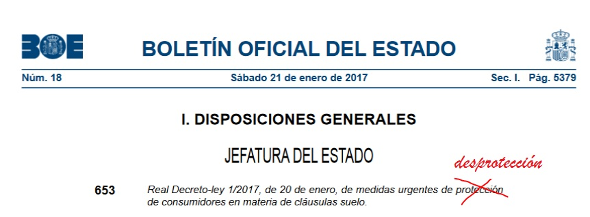 El real decreto ley 1 2017 sobre cl usula suelo el for Recurso clausula suelo
