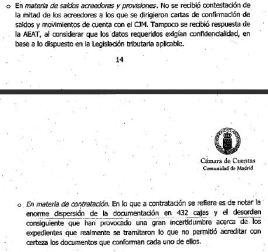 Páginas 14 y 15 del informe sobre carencia de documentacióna